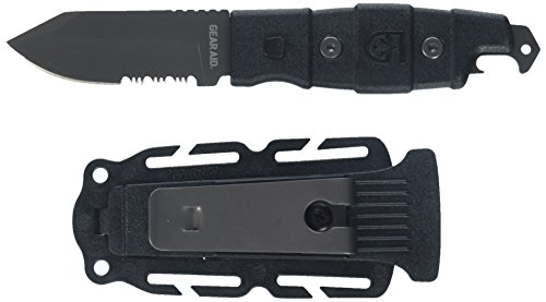 "Gear Aid Buri Utility Knife with Drop Point Blade and Sheath, Black, 3"" blade"