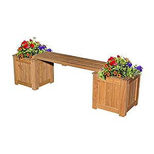 Backyard Discovery All Cedar Patio Bench with Planters