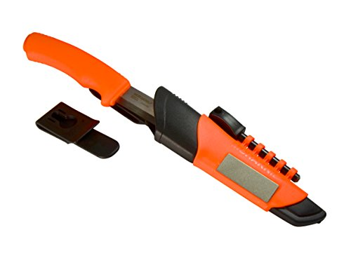 Morakniv Bushcraft Stainless Steel Survival Knife with Fire Starter and Sharpener, Orange (Bushcraft Knife Sharpener compare prices)