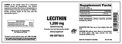 Natural Nutra Soy Lecithin Supplement, High Potency 1,200 mg