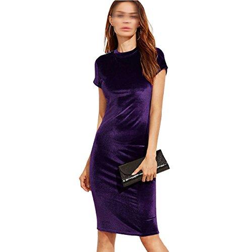 La Sra Vestido De Cuello Redondo De Manga Corta De Verano Multicolor De Varios Tamaños Purple