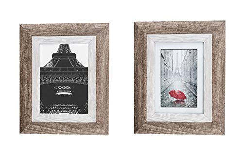 Distressed Gray Wood Picture Frame 5x7 (2 pc) Display with Photo Glass Front, Easel Back, and Wall Hang Clip | 2 PIECE SET (Ash Frame)