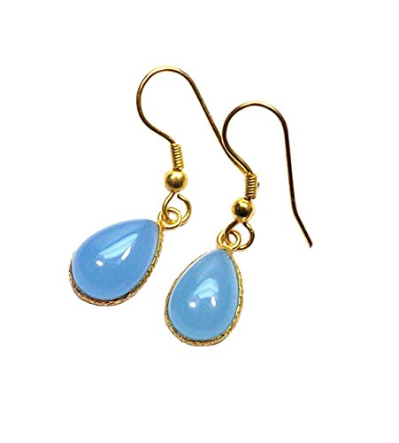 Chalcedony Link Earrings - Sitara Collections SC10335 Gold-Plated Earrings, Blue Chalcedony