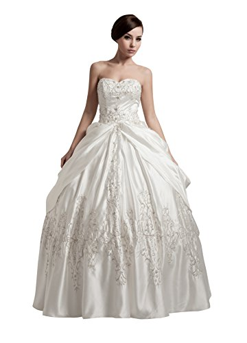Vogue007 Womens Sweetheart Silk Wedding Dress with Floral, ColorCards, 16 by Unknown