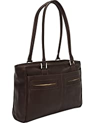 Piel Leather Ladies Laptop Tote with Pockets, Chocolate, One Size