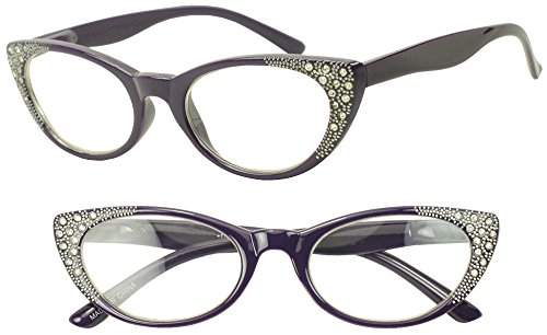 Round Pointed Vintage Purple Classic Rhinestones Rx Magnifying +1.75 Strength Glasses Cat Eye - With Vintage Glasses Eye Rhinestones Cat