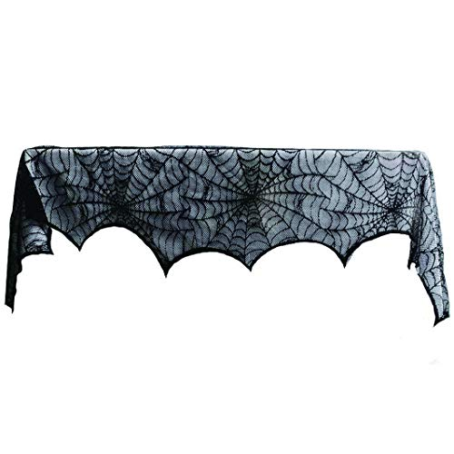 Sunworld 2 Pack Hallween Decoration Black Lace Spiderwed Fireplace Mantle Scarf Cover Festive Party Supplies 18''X 96'' ()