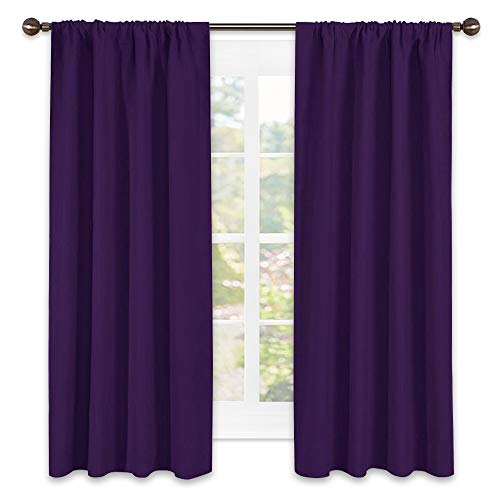NICETOWN Blackout Curtains for Living Room - Triple Weave Home Decoration Thermal Insulated Solid Rod Pocket Blackout Drapes for Bedroom(Set of 2,42 x 63 Inch,Royal Purple)