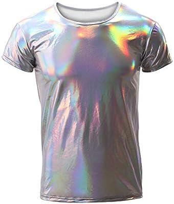 EVR Hombres Camisa de Manga Larga Camiseta Brillante de Cuero Charol Latex para Hombre Blusa con botón Sexy Camisa Invierno Otoño Hip Hop Slim-fit Traje de Club Danza S-XL,Plata,M: Amazon.es: Hogar