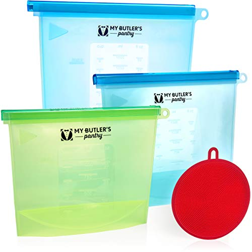 My Butlers Pantry Silicone Bags for Food Storage   Meal Preparation   Perfect Ziplock Freezer Bags   Snacks   Lunches Air-Tight Seal   Food Preservation   ZipTop Containers   Cooking Pouch