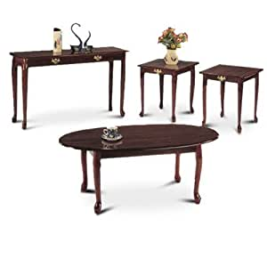 4 Piece Cherry Coffee Table Living Room Occasional Sofa Table Set Kitchen Dining
