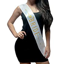 Bachelorette Sash - Bride To Be Party Sash Bridal Shower Hen Party Wedding Decorations Party Favors Accessories (White with Gold Lettering)