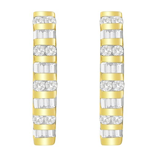 10K Yellow Gold Round and Baguette Diamond Hoop Earrings (0.50 cttw, I-J Color, I2-I3 Clarity)