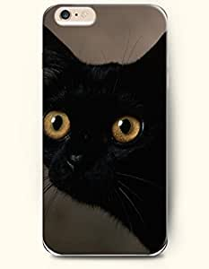 iPhone 6 Case 4.7 Inches Black Cat with Brown Eyes - Hard Back Plastic Phone Cover OOFIT Authentic