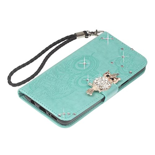 Galaxy S9 Plus Hülle,COWX Handyhülle für Samsung Galaxy S9 Plus Hülle Leder Flip Case Brieftasche Etui Schutzhülle für Samsung S9 Plus Tasche Cover Rhinestone Eule (Grün)