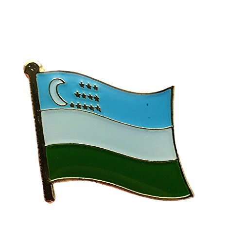 (Backwoods Barnaby Uzbekistan National Flag Lapel Pin/International Travel Pins with Gold Clasp)