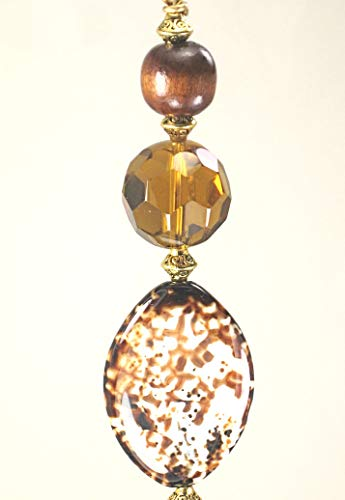 - Natural Animal Print Pattern Fire Agate Stone, Faceted Amber-Brown Glass and Wood Ceiling Fan Pull Chain