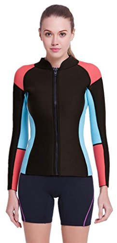 DIVE & SAIL Women's 3/2 mm Wetsuits Jacket Long Sleeve Neoprene Wetsuit Top (Coral / Blue, M = US - Wetsuit Top