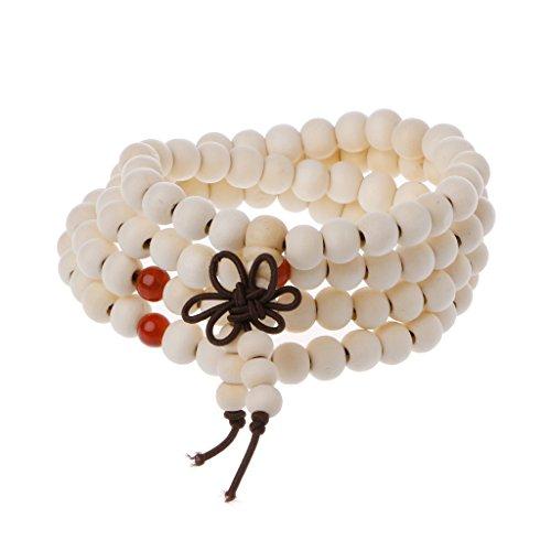 Good Luck Sampler - Dfsdmlp Natural Sandalwood 8mm Beads Bracelets 108 Wood Beads Buddha Prayer Jewelry