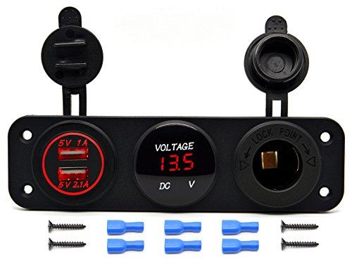 Cllena Triple Function Dual USB Charger + LED Voltmeter + 12V Outlet Power Socket Panel Jack for Car Boat Marine Digital Devices Mobile Phone Tablet (Red LED)