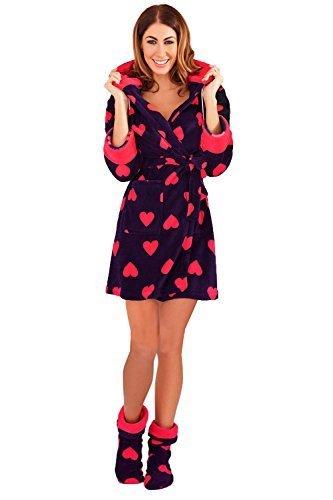c5e539923981a Polaire Loisirs De Vêtement Imprimé Peignoir Nuisette Imprimé Robe  Combinaison Pyjama Cœur Pyjama Ou Cœur Chambre de Femmes Loungeable wzPfR7vq