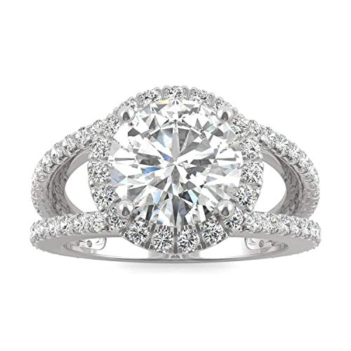 14K White Gold Moissanite by Charles & Colvard 9mm Round Engagement Ring-size 9, 3.45cttw DEW