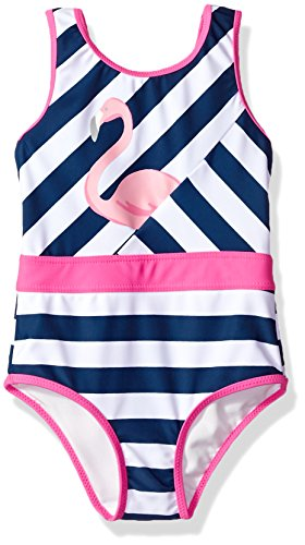 Tommy Bahama Toddler Girls' 1-Piece Swimsuit Bathing Suit, Flamingo Navy Stripe, 3T (Toddler Piece Girls 1 Swimsuit)