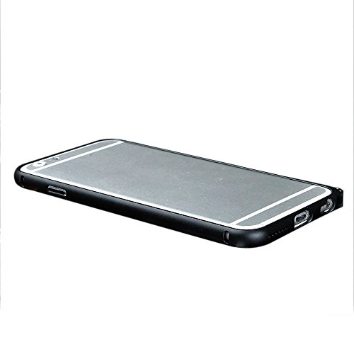 SODIAL(R) Caja para iphone 6 Plus (5.5 pulgadas) caja de parachoques de aluminio ultrafino para IPhone 6 plus Caja protectora de parachoques del metal del smartphone (negro)