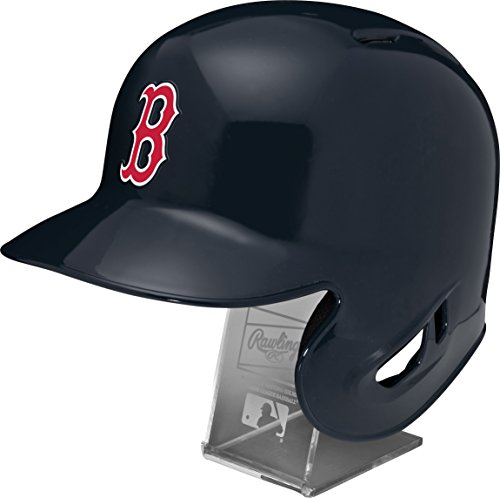 Boston Red Sox Official Batting Helmet - Rawlings MLB Boston Red Sox Replica Batting Helmet with Engraved Stand, Official Size, Blue