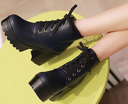IDIFU Womens Fashion Lace Up Round Toe High Chunky Heeled Platform Short Ankle High Boots Blue wZtk5Ka