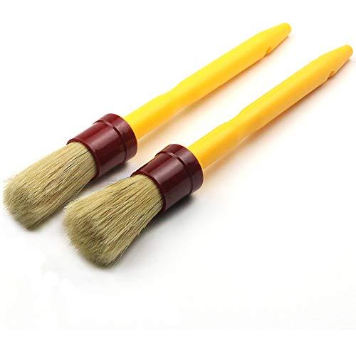 MAXMAN 2 Piece Round Chalk & Wax Paint Brush Set for Furniture, Painting, Waxing Stencils, Folk Art, Home Decor