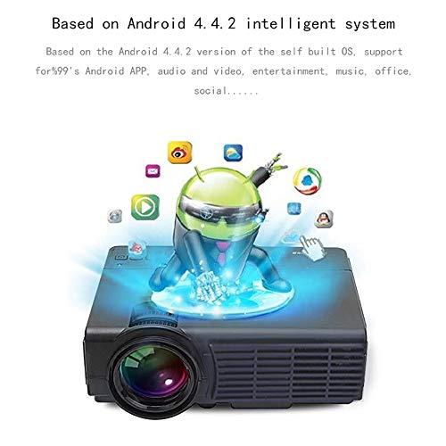 HLKYB Smart Mini Projector, Portable Video Projector 1080P Support 1000 lumens 130″Screen USB/AV/AV/HDMI/VGA Input,Black