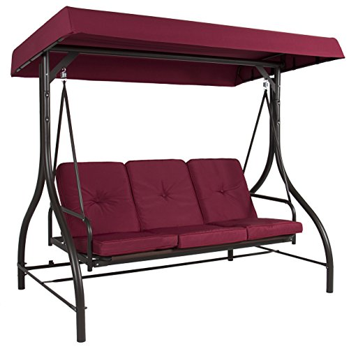 Best Choice Products 3-Seat Outdoor Steel Converting Patio Swing Canopy Hammock w/Cushion, Burgundy