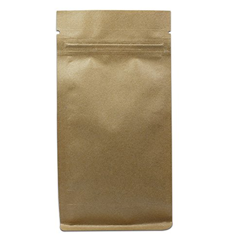 - 200 Pieces Stand Up Cardboard Flat Bottom Doypack with Notches Kraft Paper Stand-Up Gusset Side Ziplock Smell Leak Proof Pouch 12x22+6 cm Resealable Eco-Friendly Coffee Tea Nuts Storage Bags
