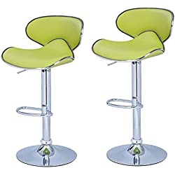 Adeco Lime Green Cushioned Leatherette Adjustable Barstool Chair, Curved Back, Chrome Finish Pedestal Base (Set of Two), Lemon Green