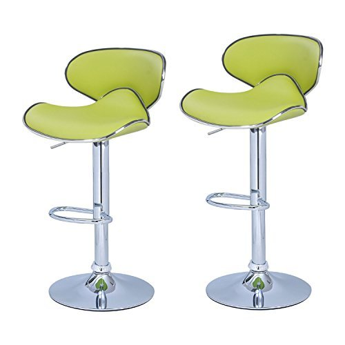 Adeco Lime green Cushioned Leatherette Adjustable Barstool Chair, Curved Back, Chrome Finish Pedestal Base (Set of Two), lemon Green (Adjustable Bar Stool Chair)