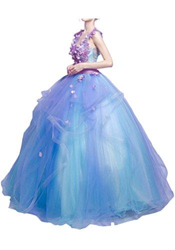 Promgirl House Damen Traumhaft Blumen A-Linie Abendkleider Cocktail Party Festkleider Ballkleider Kurz-34 Lila Blau Lang