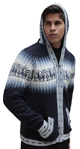 Mens Alpaca Wool Knitted Jacket Hooded Hood Sweater - Little Llamas Design (XL, Navy Blue)