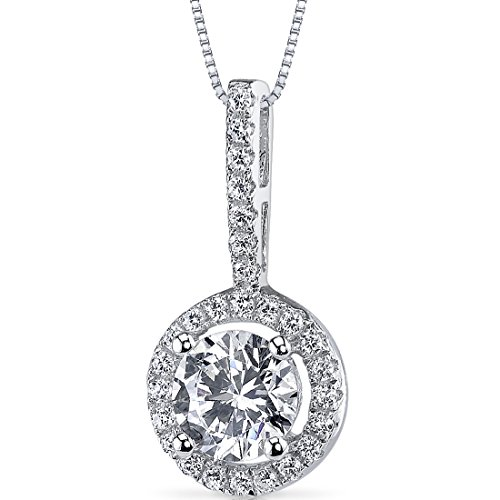 Sterling Silver Halo Style Round Cut 1.1 Carats Cubic Zirconia Pendant Necklace