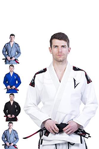 Vector Sports Lightweight Pearl Weave Brazilian Jiu Jitsu BJJ Gi Kimono Preshrunk 100% Cotton Fabric Attila Series (White, A1)