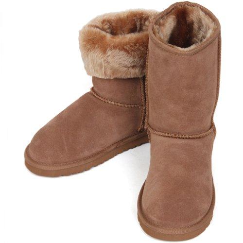 Nuovo Comfort Caldo Inverno In Montone Scarpe Da Neve Invernali Donna Marrone