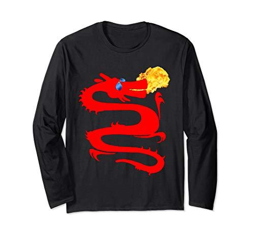 Dragon Fire T-shirt Breathing (Red Fire Breathing Dragon T-Shirt, Cool Dragon Shirt, MbASSP Long Sleeve T-Shirt)