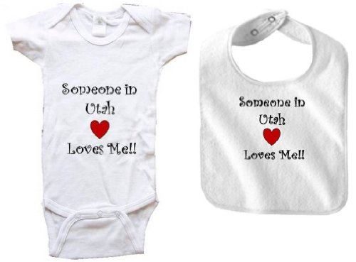 SOMEONE IN UTAH LOVES ME - UTAH BABY - 2 Piece Baby-Set - State-series - White Baby One Piece Bodysuit / Baby T-shirt and White Bib - size Newborn - In University Utah Orem