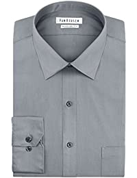 Mens Dress Shirts Regular Fit Solid Pincord Spread Collar