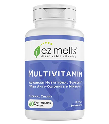 EZ Melts Multivitamin with Iron, Sublingual Vitamins, Vegan, Zero Sugar, Natural Cherry Flavor, 60 Fast Dissolve Tablets