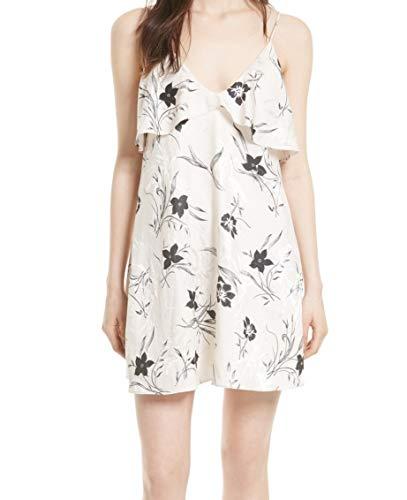 - alice + olivia Black Floral Print Ruffle Small Slip Dress White S