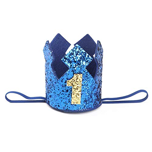 Party Hats - Blue Gold Boy First Birthday Hat Glitter Princess Crown Number 1st 2 3 Year Old Party Baby Shower - Candy Black Sombrero Plain Teacher Little Metallic Toddler Colorful Unicorn H ()