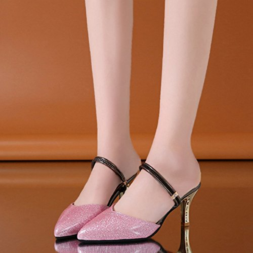 Chunky Comfy Dress Heel Sex Toe Womens JULY Slip Pink Pumps Ladies Pointed Glitter Sandals Fashion Sparkle T on Heels vZgawq