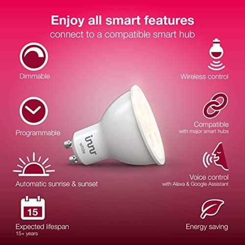 Innr GU10 Smart LED Spot conectada, luz blanca cálida, intensidad regulable, compatible with Philips Hue* (Puente requerido) y Echo Plus, RS 225
