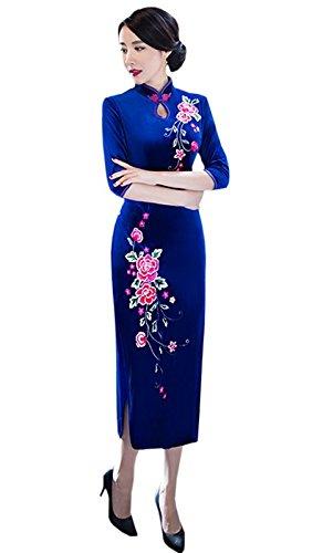 Rétro Qipao Motif Floral En Acvip Pour Avec Velours Manche Robe Bleu 3 Femme Cheongsam 4 xUgwdqEgnB